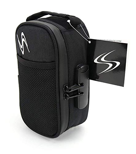 Smell Proof Bag - Smart Stash Case 8x4.25x3 - Small Combo Lock Container for Herbs, Weed Grinder, Pipe | Discreet Odorless Travel Storage Safe for Papers, Pax, Vape, Jar, Baggies - Odor Free (Black)