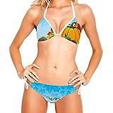 Traje de baño de 2 Piezas para Mujer, Traje de baño con Cuello Halter, Conjuntos de Bikini Triangular, Frutas de Verduras de Cosecha Rica