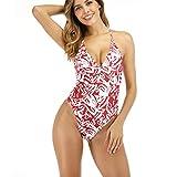 TOPKEAL Traje de baño de una pieza para mujer con cuello redondo, diseño floral push-up, bikini Tummy Control B_Rosa L