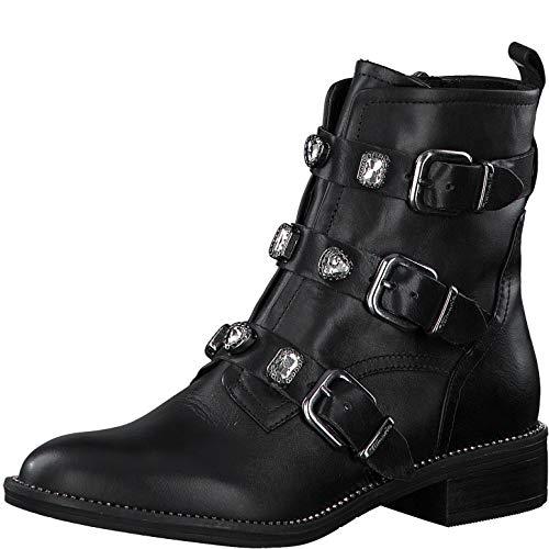 Tamaris Damen Stiefeletten, Frauen Biker Boots,lose Einlage, Ladies Women\'s Women Woman Freizeit leger Stiefel flach,Black/Crystal,39 EU / 5.5 UK