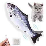 Juguetes para Gatos Eléctricos Peces Catnip, Juguete Gato Interactivos Hierba para Gatos, Peluche de Juguete Eléctrico de Simulación Fish Recargable USB Hierba Gatera, Lavable, Para Morder, Y Patear