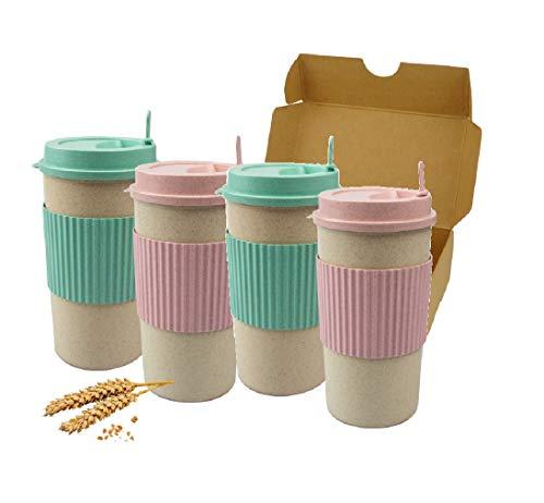 DFL - Set di 4 tazze da viaggio in plastica di bambù, ecologiche, riutilizzabili, biodegradabili, in 2 colori