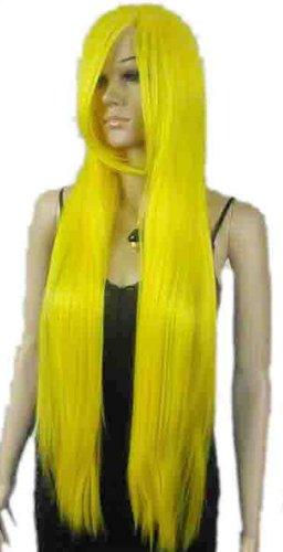 Qiyun Longue Bright Jaune Raide Ramp Frange Role Play Resistant a la Chaleur Fibre Synthetique Cheveux Complete Cosplay Anime Costume Perruque