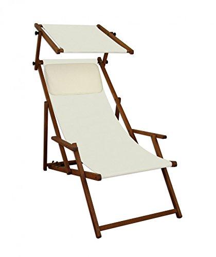 Sedia a Sdraio Bianca Ecrù Parasole Cuscino Beige da Spiaggia in Legno di Faggio 10-303SKH