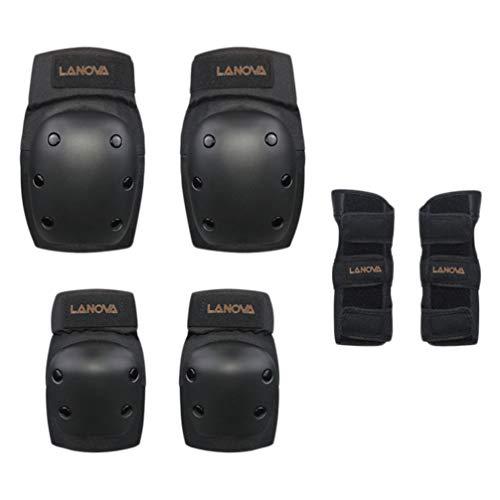 CLISPEED 6Pcs Kinder Knieschoner Ellbogenschützer Schutzausrüstung Kit Ellbogen Handgelenkschützer Kniescheibe für Skater Roller Größe S (Schwarz)