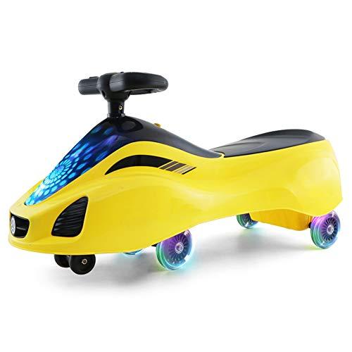 QqHAO Baby Swing Car, Puede Montar un Scooter de Hilado Juguete para niños con Ruedas LED Luminosas, para niños y niñas de 2 a 6 Regalos,Amarillo
