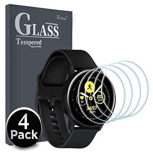 Ferilinso displaybeschermfolie voor Samsung Galaxy Watch Active, [4-pack] [niet gehard glas] flexibele TPU-folie van Pet 3D met afdekking volledig hoge gevoeligheid, Samsung Galaxy Watch Active, 4 stuks.