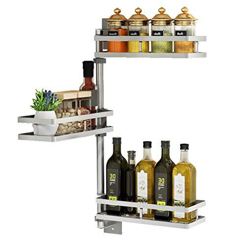 LYM & Schaal afdruiprek met dienblad Keuken Plank Huishoudelijk RVS Multifunctionele 180° Draaiende Hoek Frame 3-laags Kruidenrek afdruiprek