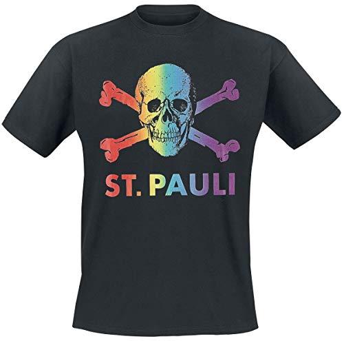 FC St. Pauli Regenbogen Männer T-Shirt schwarz M