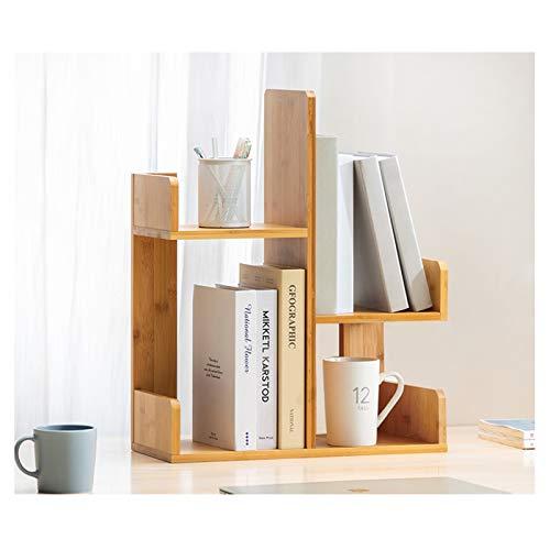Estantería de Oficina Diseño simple Bambú Desktop Librería Pequeño estante de escritorio Organizador Oficina Oficina Oficina Oficina Organizador Decoración para el hogar para Salón, Casa, Oficina