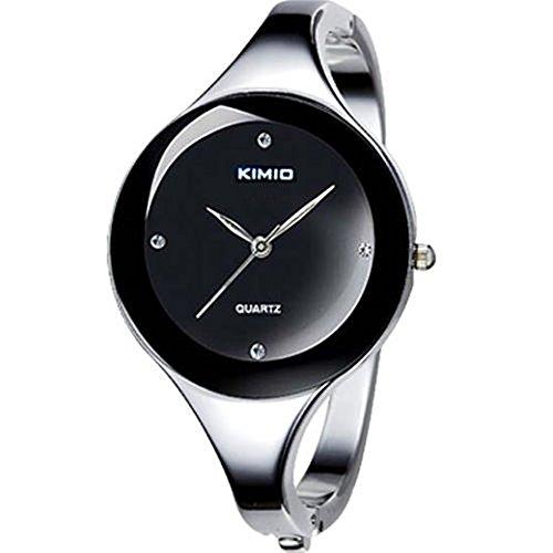 SSITG Uhr Armbanduhr Damen Edelstahl Kimio Silber Quarz Spangenuhr Armreif Schwarz