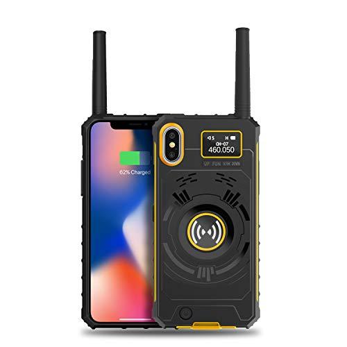 Radioddity iRaddy GM-Serie Handyhülle für iPhone X/XS, UHF Walkie Talkie Wiederaufladbares Funkgerät, Leistungsstarke Akkuhülle 3500mAh Zusatzakku für iPhone (4.7 in)