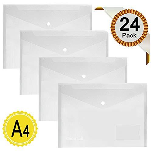 Dokumententasche Dokumentenmappe - 24 Stück Kunststoff Transparent Sammelmappe din A4 Postmappe mit Druckknopf
