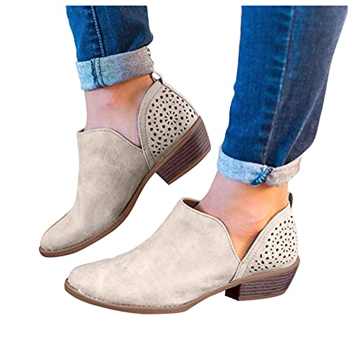 Woolkey Women's Hollow Ankle Booties Round Toe Mid Chunky Heel Solid Color Short Boots Retro Pull On Warm Work Knight Boots for Ladies Autumn Winter Party Office Outdoor Street (Beige, 9.5-10)