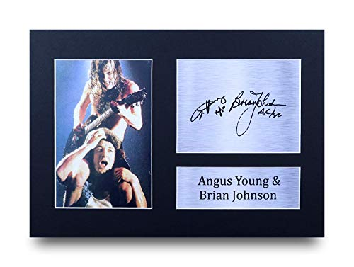 HWC Trading Angus Young & Brian Johnson A4 Sin Marco Regalo De Visualizacion De Fotos De Impresion De Imagen Impresa Autografo Firmado por ACDC Aficionados A La Musica