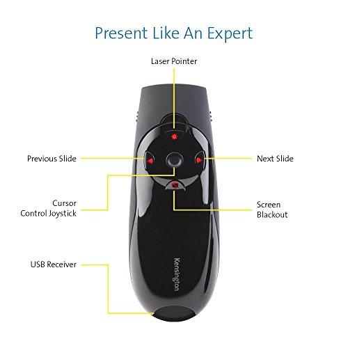 Kensington K72425EU Presenter Expert Red Laser (2,4GHz, 4 Tasten, 50m, USB) mit Cursorsteuerung