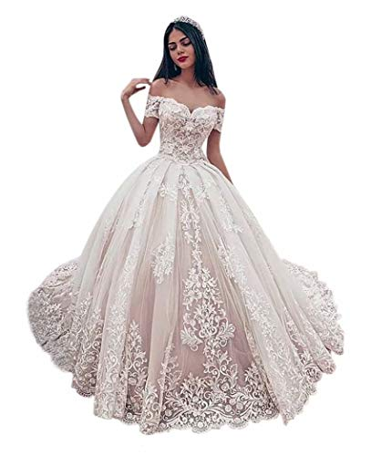 Andybridal Women's Ball Gown Elegant Off Shoulder Sweetheart Appliques Lace Wedding Dress Bridal Gown Picture Color 10
