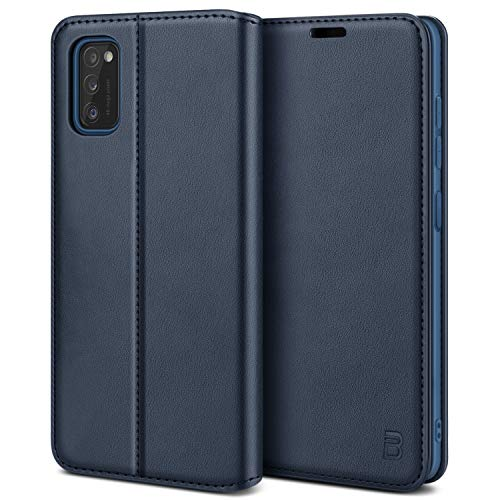 BEZ Handyhülle für Samsung A41 Hülle, Premium Tasche Kompatibel für Samsung Galaxy A41, Tasche Hülle Schutzhüllen aus Klappetui mit Kreditkartenhaltern, Ständer, Magnetverschluss, Blau