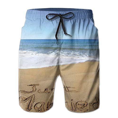 Men's Big and Tall Swim Trunks Beachwear Drawstring Summer Holiday,Just Married Written On Sandy Beach Ocean Waves Romantic Photo,3D Print Shorts Pants,XX-Large