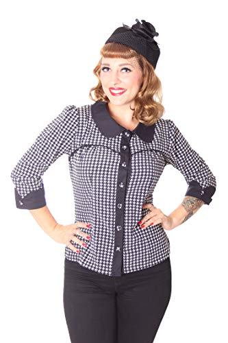 SugarShock Damen Rockabilly Bluse Raquel Dogtooth, Größe:M, Farbe:schwarz Weiss