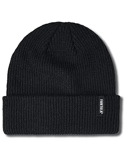 FURTALK Beanie Hat for Women Men Winter Hat Womens Cuffed Beanies Knit Skull Cap Warm Ski Hats Black