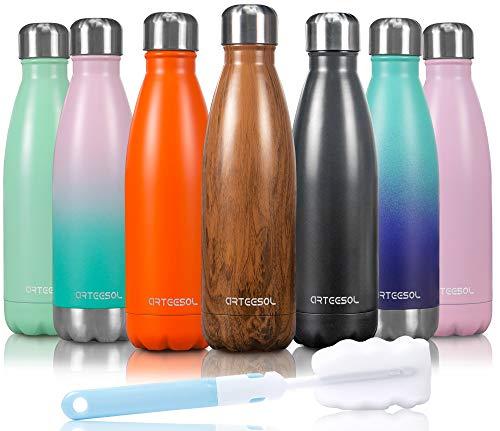 arteesol Trinkflasche Edelstahl Thermoskanne Thermoflasche Wasserflasche Doppelwandige Vakuum BPA Frei Flasche für Sport Fitness Fahrrad Laufen Camping 12 STD Kühlen & Warmhalten, Holz, 500ml