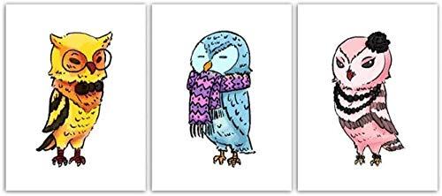 ZAWAGU Pintura Arte de la lona Conjunto de 3 piezas Carteles Impresiones Arte de la pared Dibujos animados Animal Búho Imagen de pájaro para sala de estar Estilo nórdico Dormitorio Decoración Marco