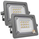 Foco LED Exterior OSRAM 10W, Pack 2 unidades, Proyector AVANT Slim de Gran Luminosidad, IP65 Resistente al agua, para terraza, jardin, patio... (Luz Fría (5700K))