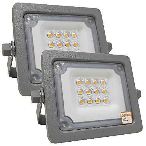 Foco LED Exterior OSRAM 10W, Pack 2 unidades, Proyector AVANT Slim de Gran Luminosidad, IP65 Resistente al agua, para...