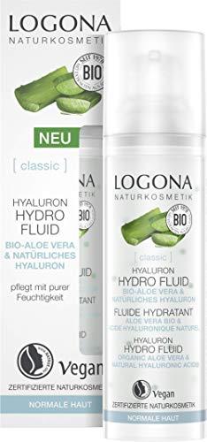 Hyaluron Hydro Fluid von LOGONA Naturkosmetik mit hochkonzentrierter Bio Aloe Vera und Hyaluronsäure, Spendet dem Gesicht intensive Feuchtigkeit, Natürliche & Vegane Gesichtspflege, 30ml