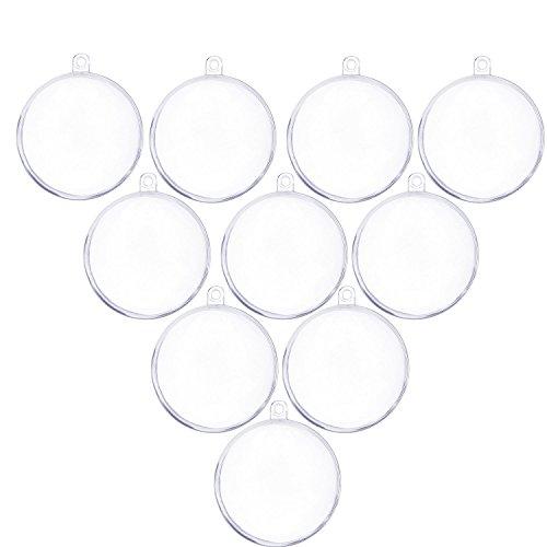 Merssavo 40 mm en Plastique Transparent à remplir Boule Ornement Décorations pour Arbre de Noël DIY Craft – Lot de 10