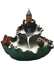 Exquisite Backflow wierook brander, keramische waterval wierook kegel houder, kom met gratis 10 stks Backflow wierook kegels, geschikt voor thuis, kantoor, theehuis, en meer (Butterfly (groen))