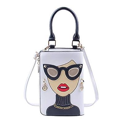 Freie Liebe Women Messenger Purse Red Lips Satchel Handbag Lady Face Shoulder Crossbody Bags Top Handle Clutch Bag