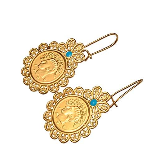 Shah Jewelry Del Año Pasado, Mujeres Árabes Del Medio Oriente Niñas Pendientes De Monedas Persa Iraníes # 005810