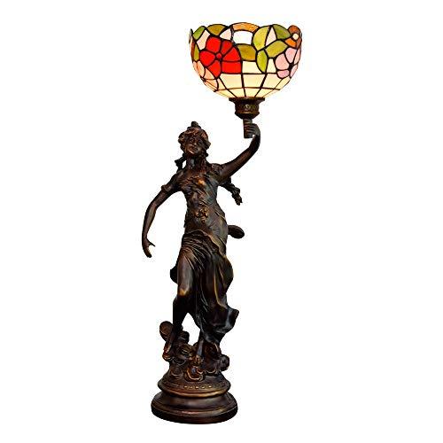 Lámpara Tiffany 20CM creativo del vitral de Tiffany lámpara de mesa hermosa gloria de la mañana americana salón dormitorio comedor del hotel lámpara de mesa de noche Escritorio antiguo de sala de esta
