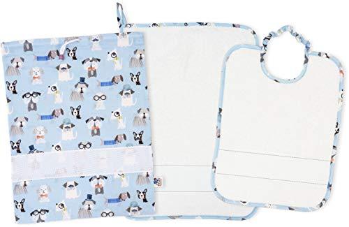 Red AMASD591 – Juego de 3 piezas para guardería, bordado, de rizo de 100% algodón, diseño de cachuelas – Color azul, blanco – 300 g
