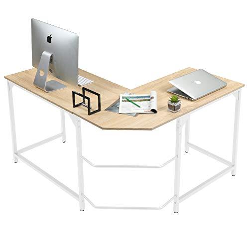 Aingoo L Mesa Escritorio de Computadora, Mesa Ordenador Gran Escritorio de Esquina Moderna L Escritorio para Oficina (Blanco)
