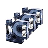 Upwinning Cinta de etiquetas compatible de repuesto para Dymo Rhino 18443, 9 mm x 5,5 m, cinta de vinilo industrial negro sobre blanco fuerte trabajo con Dymo Rhino 5200 4200 3000 1000, 3 unidades