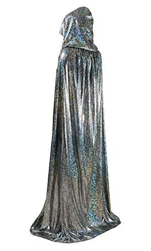 OurLore Unisex Full Length Hooded Cape Halloween Christmas Cloak (Small, Silver)