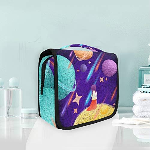 Mr.XZY Galaxy Joven Niña Acuarela Pintura Cosméticos Bolsa de Maquillaje Dibujos Animados Diseño Creativo Para Niños Colgando Neceser Bolsa De Viaje Organizador Kit Para Mujeres Chica 2010589