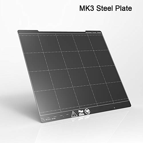 HUANRUOBAIHUO Placa MK3 I3 254X241 Pei Resorte de Acero Revestido de Polvo de Doble Cara for Prusa i3 Impresora MK3 MK3 MK2 3D Partes de la Impresora 3D (Size : Steel Plate Only)