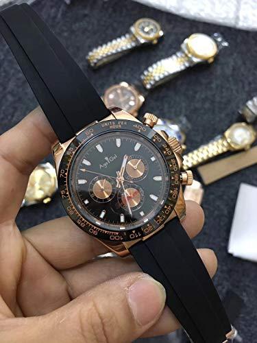 PLKNVT Marca Nuevo Reloj De Caucho Negro para Hombres Reloj