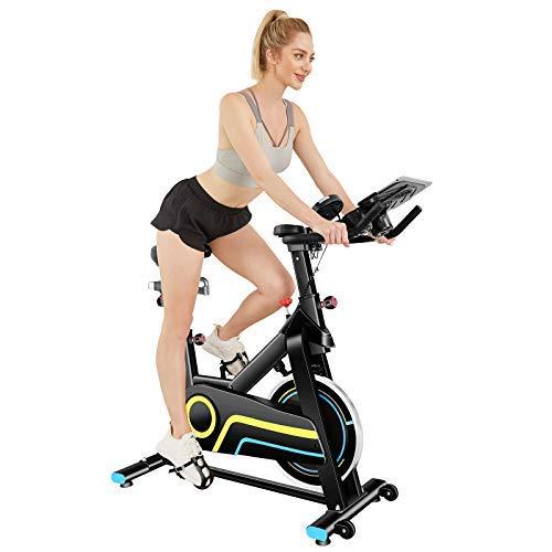 ANCHEER Bici da Spinning Cyclette con Volantino di Inerzia 18 kg Display LCD, Sensore di Impuls, Collega con l'App Manubrio e Sella Regolabili, Portata Massima 120 kg (Nero)