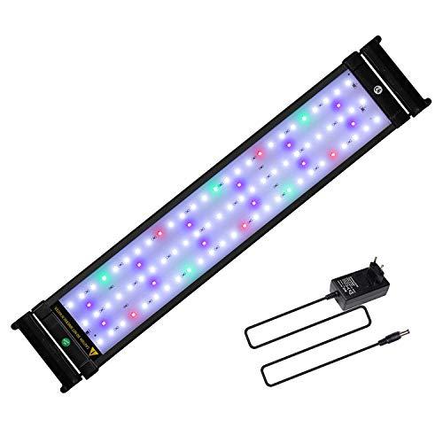 JOYHILL Luz LED Acuario, Pantalla LED Acuario, Iluminación LED para Acuarios Plantados Lámpara LED para Peceras 50-70cm