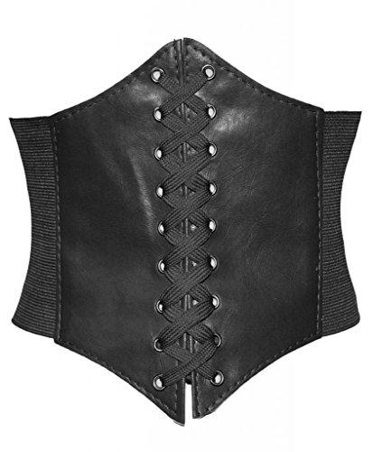 Alivila.Y Fashion Womens Faux Leather Underbust Corset Belt Bustier A13-Black