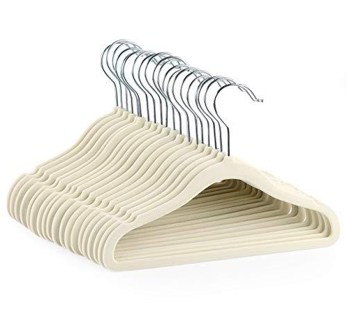 ilauke 20 Stück Samt Kleiderbügel für Neugeborene Baby Kinder Kleinkinder mit Samtbezug, Beige