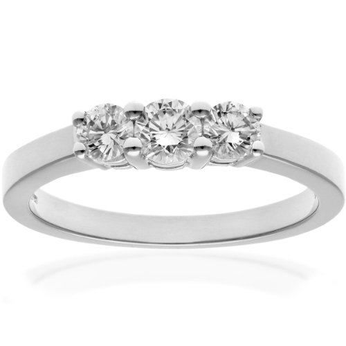Naava Women's 18 ct White Gold Trilogy Ring, IJ/I Certified Diamonds, Round Brilliant, 0.50ct, White Gold, L