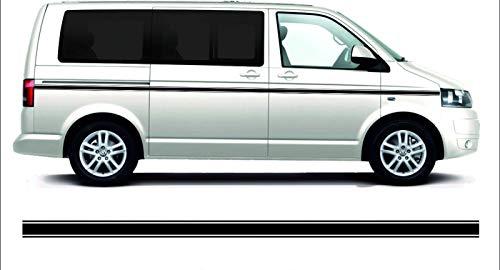SUPERSTICKI Transporter T4 T5 T6 Bus Van Bulli Seitenstreifen Racing Stripes Rallyestreifen Checker Aufkleber Autoaufkleber Tuningaufkleber Hochleistungsfolie für alle glatten Flächen UV und