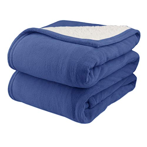 Pure Warmth MicroPlush Sherpa Electric Heated Blanket King Denim