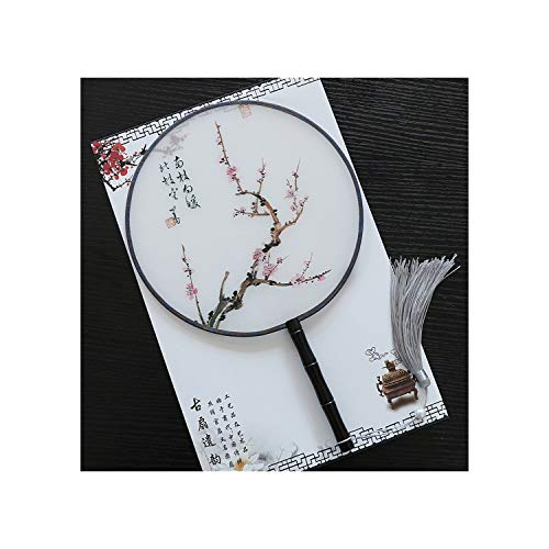 Chinese Style Round Hand Folding Silk Fan Wood Handle for Women Hand Held Fan Party Supplies Classical Dance,Lb5577-14